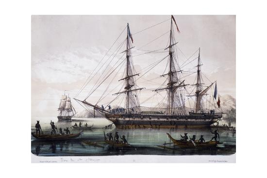 arrival-of-ships-astrolabe-and-zelee-at-nuku-hiva-island