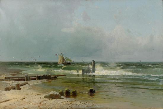 arseni-ivanovich-meshchersky-a-sailing-boat-by-the-beach-1891