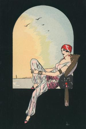 art-deco-image-of-a-woman-reclining-in-a-window-seat