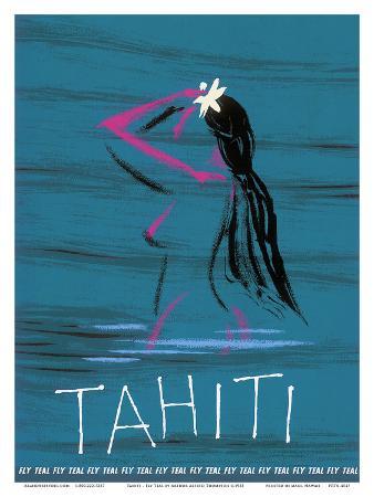 arthur-alfred-thompson-tahiti-nude-tahitian-girl-fly-teal-tasman-empire-airways-limited