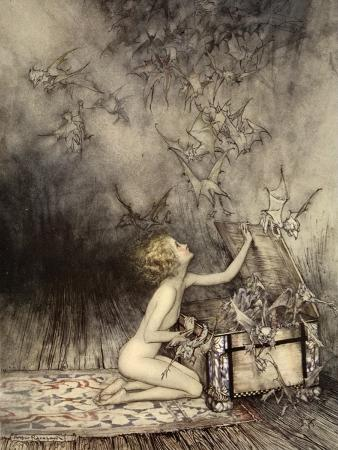 arthur-rackham-a-sudden-swarm-of-winged-creatures-brushed-past-her