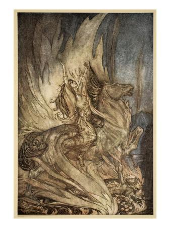 arthur-rackham-brunnhilde-on-grane-leaps-on-funeral-pyre-illustration-siegfried-and-the-twilight-of-gods