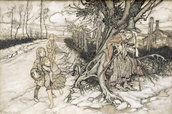 arthur-rackham-children-startled-by-a-witch