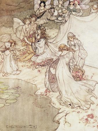 arthur-rackham-illustration-for-a-fairy-tale-fairy-queen-covering-a-child-with-blossom
