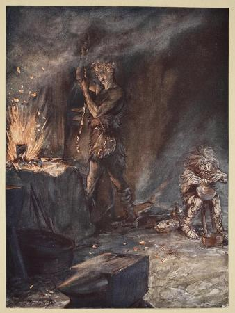 arthur-rackham-the-forging-of-nothung-illustration-from-siegfried-and-the-twilight-of-the-gods-1924