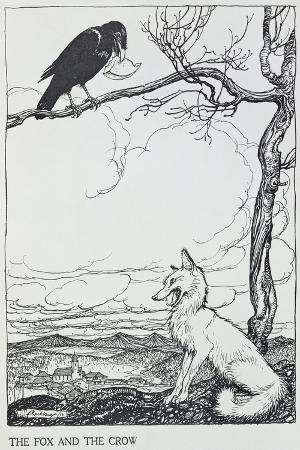 arthur-rackham-the-fox-and-the-crow-illustration-from-aesop-s-fables-published-by-heinemann-1912