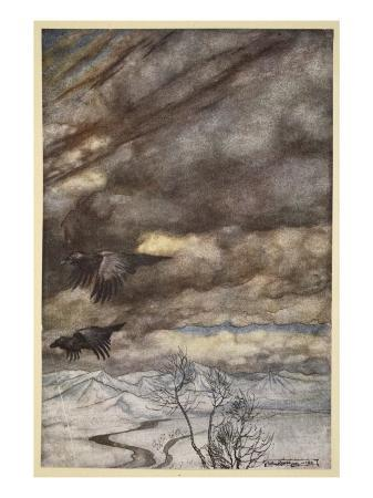 arthur-rackham-the-ravens-of-wotan-illustration-from-siegfried-and-the-twilight-of-the-gods-1924