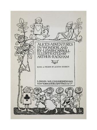 arthur-rackham-title-page-with-a-rose-bush-the-white-rabbit-and-men-dressed-as-cards
