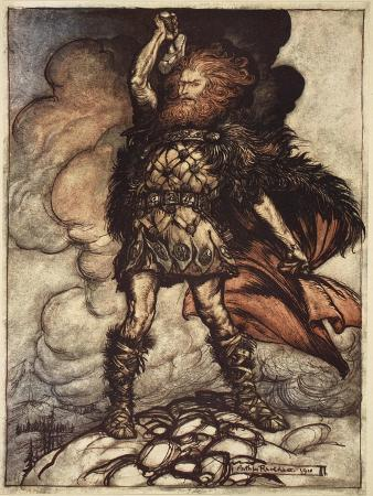 arthur-rackham-to-my-hammer-s-swing-sweep-vapours-and-fogs-illustration-the-rhinegold-and-the-valkyrie-1910