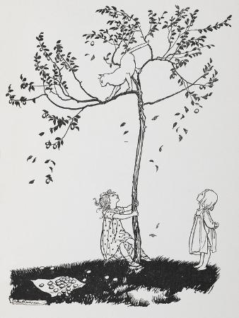 arthur-rackham-two-children-try-to-get-a-cat-down-from-a-tree