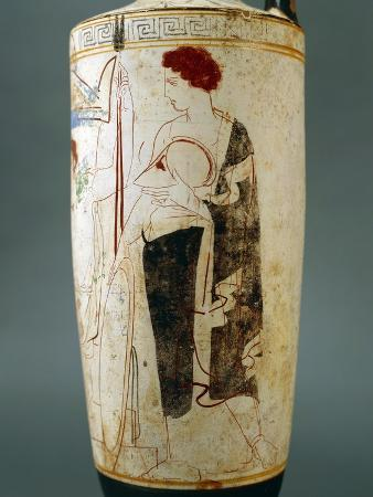attic-lekythos-showing-a-funeral-scene-of-a-warrior-seated-in-front-of-his-tomb-420-410-bc
