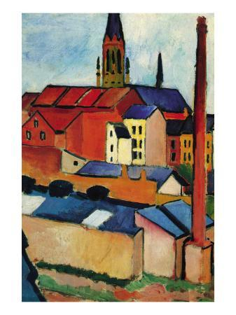 auguste-macke-st-mary-s-church-with-houses-and-chimney