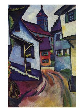 auguste-macke-street-with-a-church-in-kinder