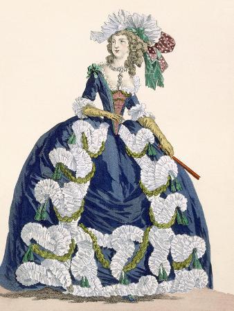augustin-de-saint-aubin-elaborate-royal-court-dress-in-navy-blue-with-luxuriant-white-frill-design