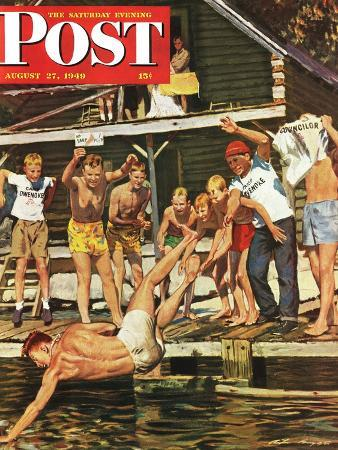 austin-briggs-wet-camp-counselor-saturday-evening-post-cover-august-27-1949