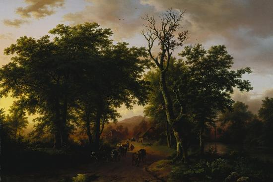 barend-cornelis-koekkoek-travellers-on-a-path-at-sunset