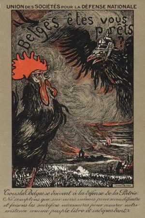 belgian-cockerel-being-threatened-by-the-german-eagle