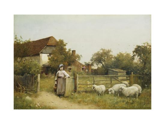 benjamin-d-sigmund-young-girl-with-sheep-by-a-cottage