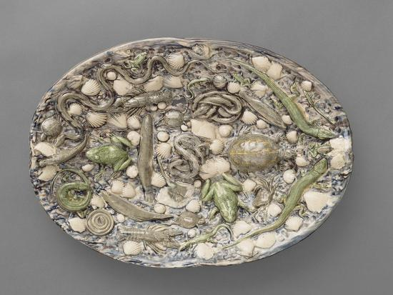 bernard-palissy-plat-ovaa-bord-ondule-couleuvres-tortue-lezards-grenouil-poissons-etrilet-coquillages