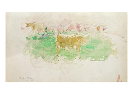 berthe-morisot-cows-in-normandy-1880-w-c-on-paper