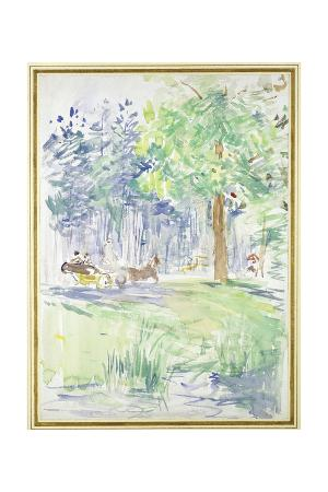 berthe-morisot-horse-and-carriage-on-a-woodland-road-after-1883-watercolour-on-white-wove-paper