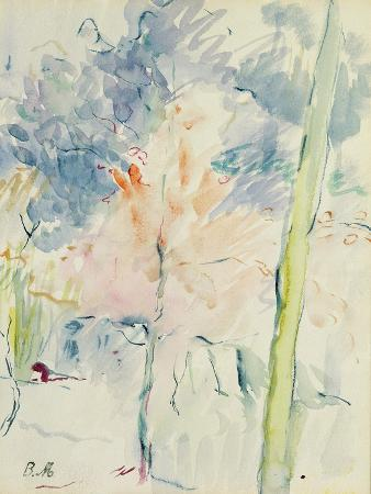 berthe-morisot-red-tree-in-a-wood-1893-w-c-on-paper