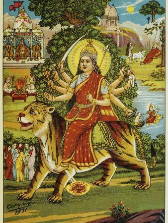 bettmann-the-goddess-durga-color-lithograph
