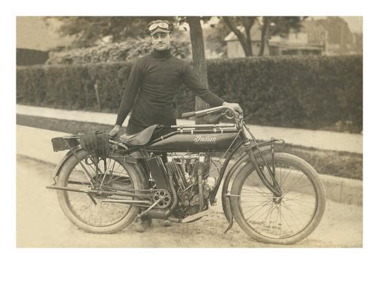 black-and-white-photo-of-man-with-motorcycle