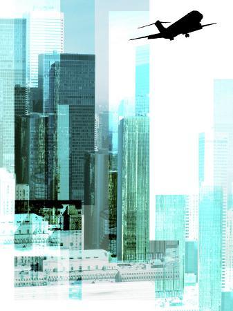 black-silhouette-of-jet-flying-over-outline-of-blue-cityscape