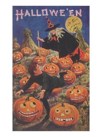 boy-fleeing-witch-and-leering-pumpkins