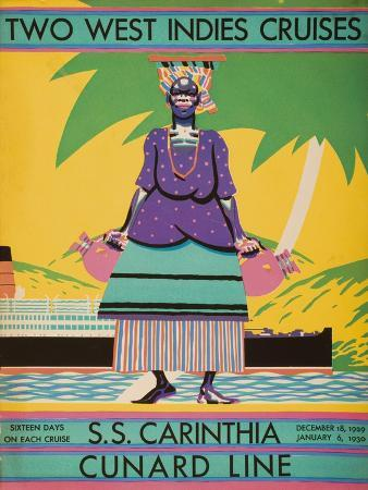 brochure-cover-for-two-west-indies-cruises-on-board-the-s-s-carinthia-1929