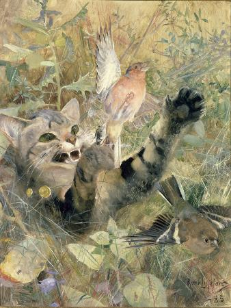 bruno-andreas-liljefors-a-cat-and-a-chaffinch-1885