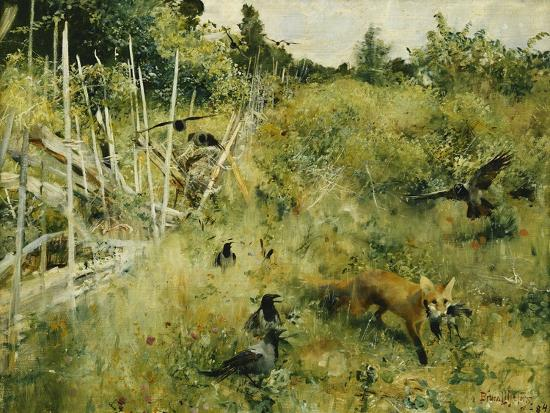 bruno-liljefors-a-fox-taking-a-crow