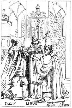 calvin-luther-and-the-pope-fighting-each-other-published-1600