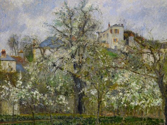 camille-pissarro-trees-and-flowers-spring-at-pontoise-1877