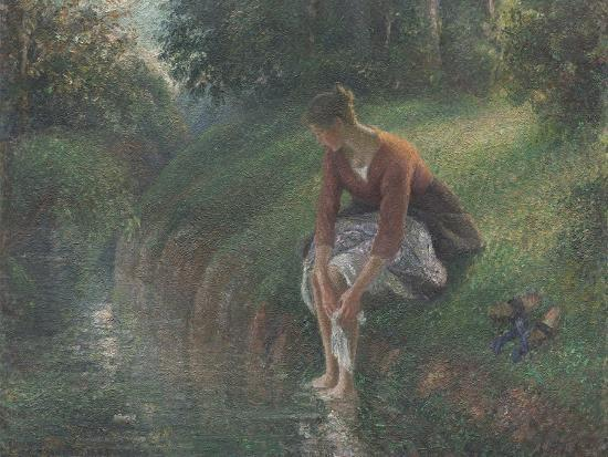 camille-pissarro-woman-bathing-her-feet-in-a-brook-1894-95