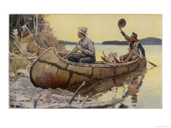 canadian-canoe-at-a-riverbank-camp