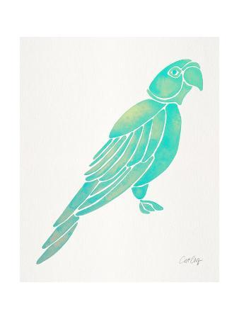 cat-coquillette-turquoise-perched-parrot
