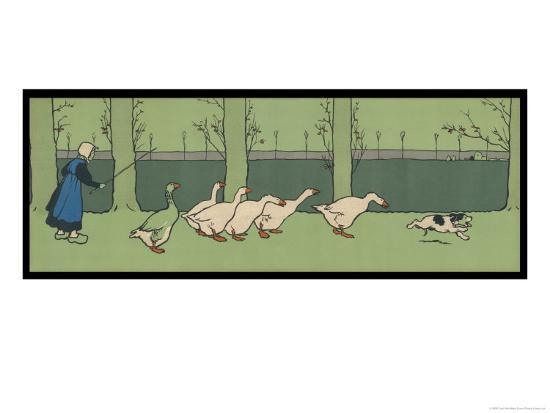 cecil-aldin-goose-girl-wearing-clogs-and-six-geese-led-by-a-dog-in-an-autumn-landscape