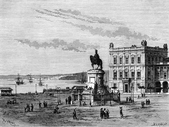 charles-barbant-commerce-square-lisbon-portugal-19th-century