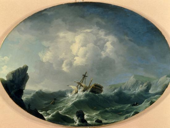 charles-brooking-a-british-man-of-war-in-rough-seas-off-a-rocky-coast