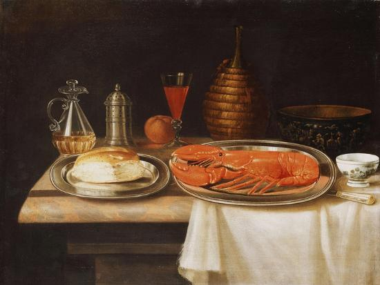 charles-collins-a-still-life-with-a-lobster-and-bread-on-salvers