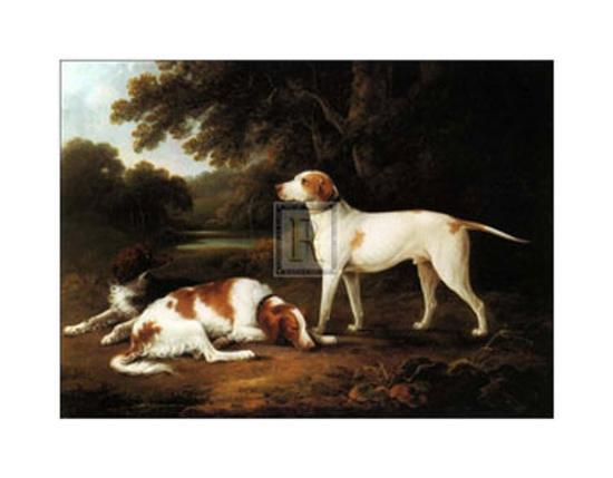 charles-henry-schwanfelder-pointer-and-two-spaniels-in-a-park