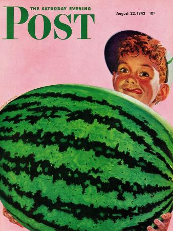 charles-kaiser-big-watermelon-saturday-evening-post-cover-august-22-1942