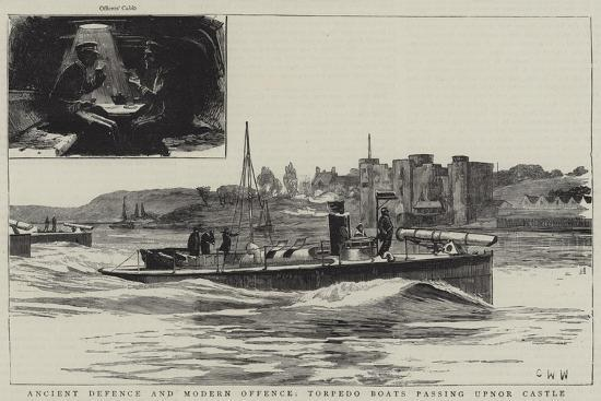 charles-william-wyllie-ancient-defence-and-modern-offence-torpedo-boats-passing-upnor-castle