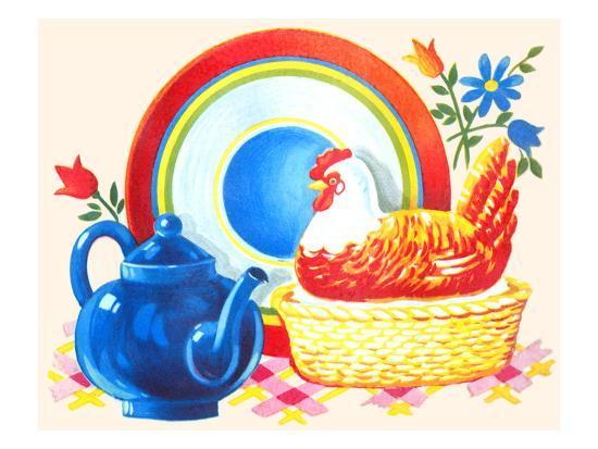 chicken-casserole-dish-and-teapot