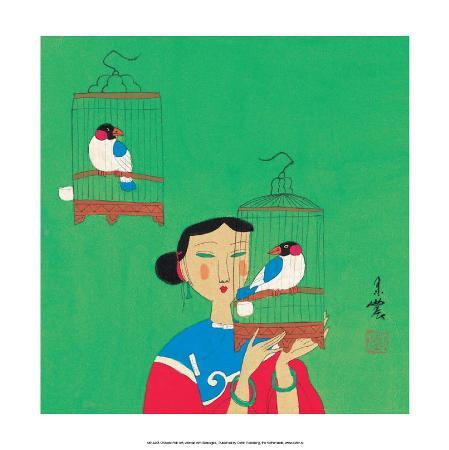 chinese-folk-art-girl-with-birdcages