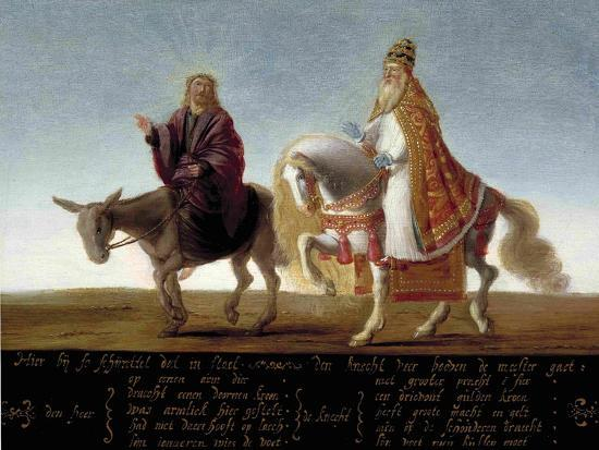 christ-on-a-donkey-the-pope-on-horseback