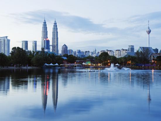 christian-kober-south-east-asia-malaysia-kuala-lumpur-petronas-towers-and-kl-tower-lake-titiwangsa