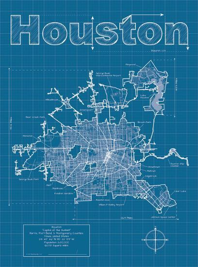 Houston artistic blueprint map art print by christopher estes at art houston artistic blueprint map malvernweather Gallery